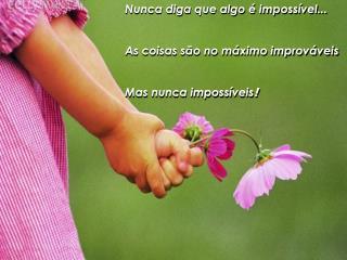 Nunca diga que algo é impossível... As coisas são no máximo improváveis Mas nunca impossíveis !
