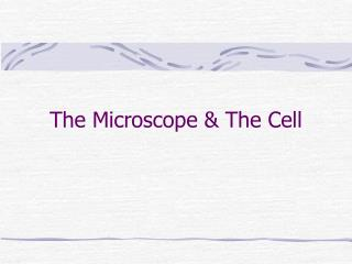 The Microscope & The Cell