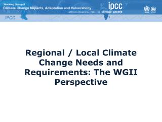 Regional / Local Climate Change Needs and Requirements: The WGII Perspective