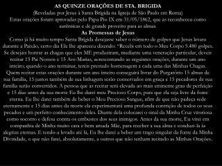 AS QUINZE ORAÇÕES DE STA. BRIGIDA