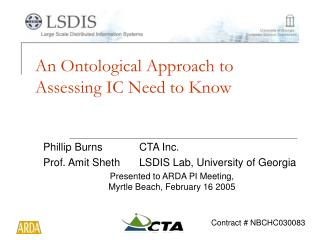 An Ontological Approach to Assessing IC Need to Know