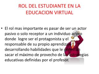 ROL DEL ESTUDIANTE EN LA EDUCACION VIRTUAL