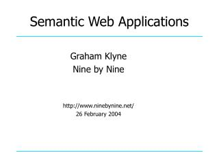 Semantic Web Applications