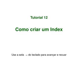 Tutorial 12 Como criar um Index