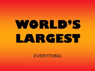 WORLD'S LARGEST