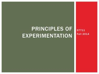 Principles of Experimentation