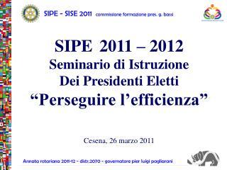 SIPE - SISE 2011   commissione formazione pres. g. bassi