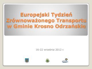 Europejski Tydzień Zrównoważonego Transportu  w Gminie Krosno Odrzańskie