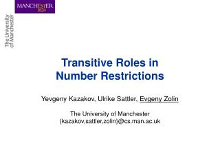 Transitive Roles in Number Restrictions