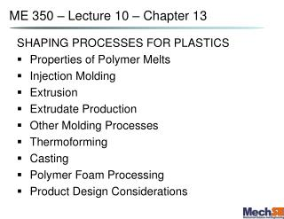 ME 350   Lecture 10   Chapter 13