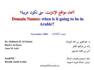 أسماء مواقع الإنترنت:  متى تكون عربية؟ Domain Names:  when is it going to be in Arabic?