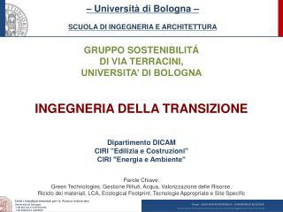 GRUPPO SOSTENIBILITÁ DI VIA TERRACINI,  UNIVERSITA' DI BOLOGNA INGEGNERIA DELLA TRANSIZIONE