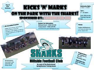 KICKS 'n' MARKS  ON THE PARK WITH THE SHARKS ! Sponsored by:  Looking for one