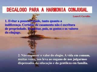 DEC � LOGO PARA A HARMONIA CONJUGAL