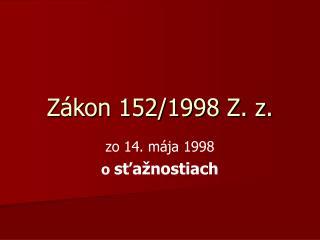 Zákon 152/1998 Z. z.