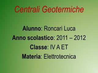 Centrali Geotermiche