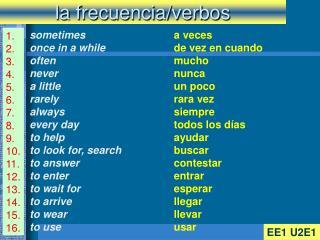 la frecuencia/verbos