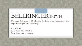 Bellringer  8/27/14
