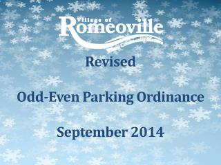 Revised Odd-Even  Parking  Ordinance September 2014