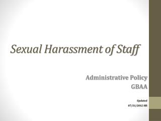 Sexual Harassment of Staff