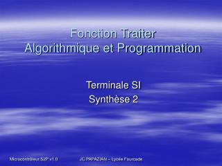 Fonction Traiter Algorithmique et Programmation
