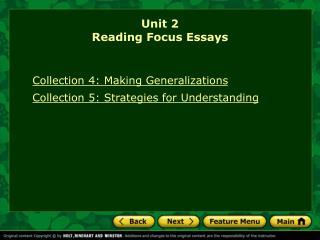 Unit 2 Reading Focus Essays