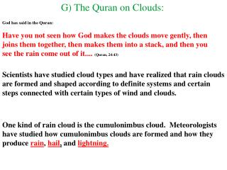 G) The Quran on Clouds: