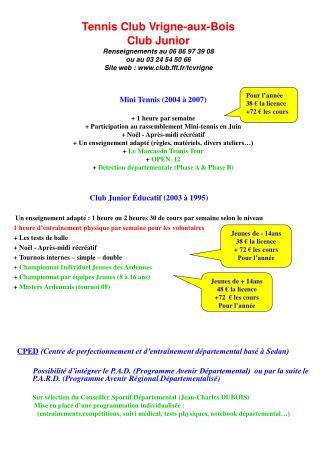 Mini Tennis (2004 à 2007) +  1 heure par semaine