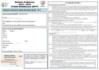 Bulletin d'adhésion 2014 – 2015 STADE BORDELAIS ASPTT