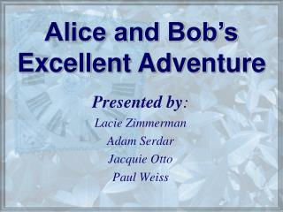 Presented by: Lacie Zimmerman Adam Serdar Jacquie Otto Paul Weiss