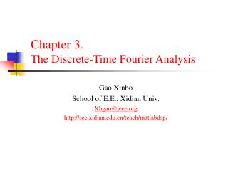 Chapter 3.  The Discrete-Time Fourier Analysis