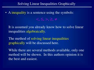 Solving Linear Inequalities Graphically