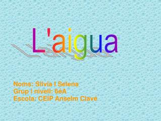 Noms: Silvia I Selena Grup i nivell: 6éA Escola: CEIP Anselm Clavé