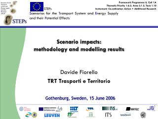 Scenario impacts: methodology and modelling results