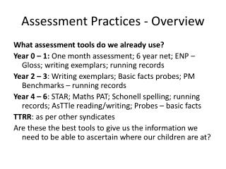 Assessment Practices - Overview