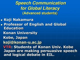 Speech Communication  for Global Literacy  Advanced students