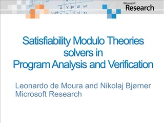 Satisfiability Modulo Theories solvers in  Program Analysis and Verification