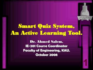 Smart Quiz System, An Active Learning Tool.