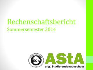 Rechenschaftsbericht  Sommersemester 2014