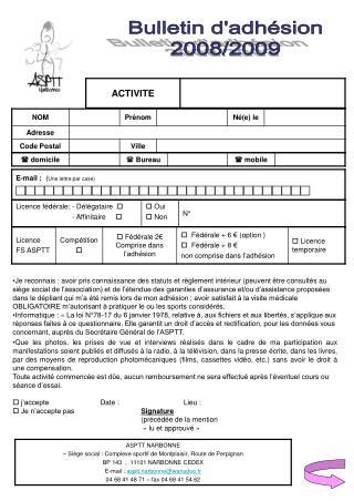 Bulletin d'adhésion 2008/2009