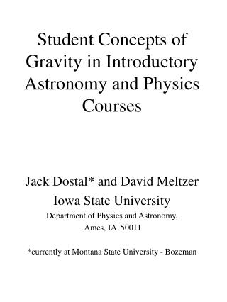 Student Concepts of Gravity in Introductory Astronomy and Physics Courses