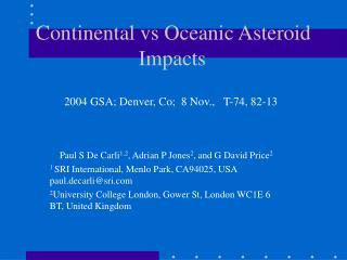 Continental vs Oceanic Asteroid Impacts