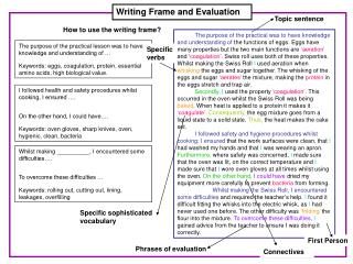 Writing Frame and Evaluation