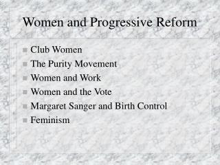 Women and Progressive Reform