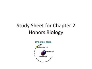 Study Sheet for Chapter 2 Honors Biology