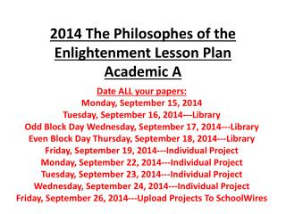 2014 The Philosophes of the Enlightenment Lesson Plan Academic A