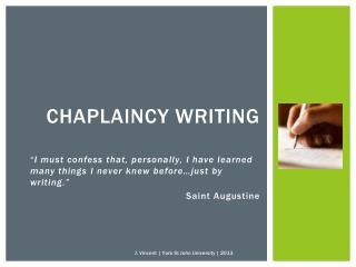 Chaplaincy writing