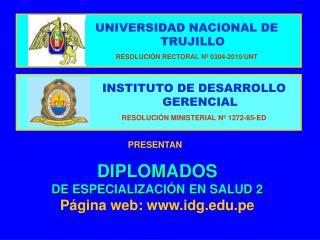 INSTITUTO DE DESARROLLO GERENCIAL RESOLUCI�N MINISTERIAL N� 1272-85-ED