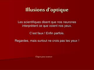Illusions d�optique