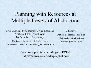 Planning with Resources at Multiple Levels of Abstraction
